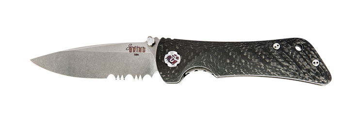 Spider Monkey Drop Point - Serrated - Satin - Carbon Fiber - By Southern Grind