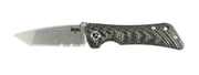 Spider Monkey Tanto Satin Serrated Carbon