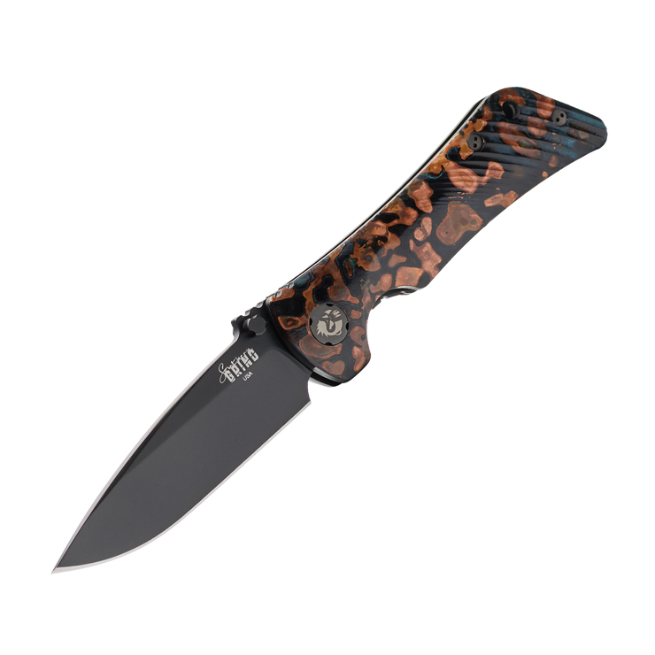Spider Monkey Drop Point Black w/ Forced Patina Copper Handle