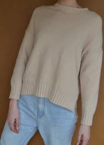 Drop Shoulder Knit in Cream
