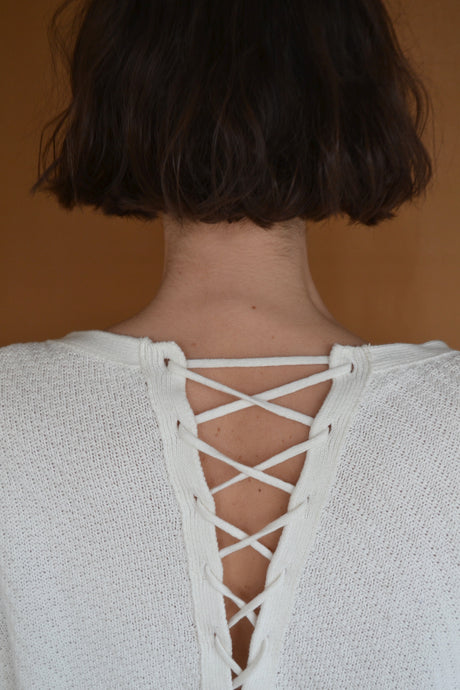 Criss Cross Waffle Knit in White