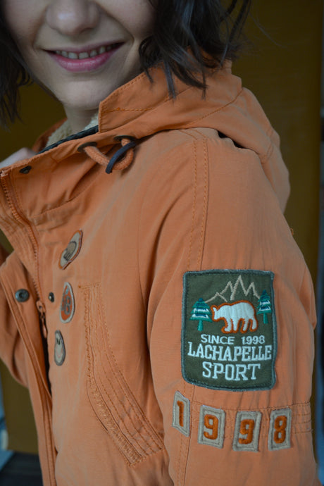 Hip Length Parka in Tangerine