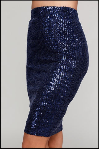 Sequin On The Dance Floor Navy Sequin High Waist Pencil Skirt