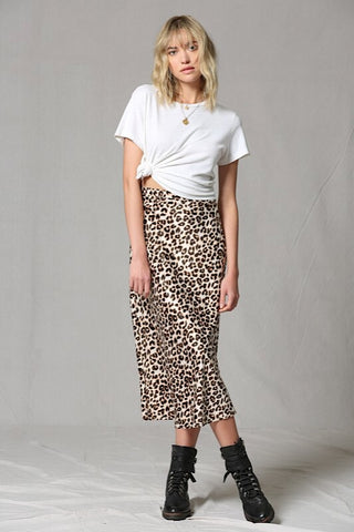 Talk Wild To Me Brown Leopard Print Satin Midi Skirt