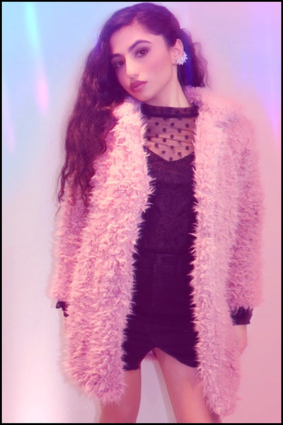 Sugar High Pink Fluffy Cozy Shaggy Fur Jacket