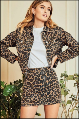 Wild Nigh Out Tan Cropped Leopard Print Jacket
