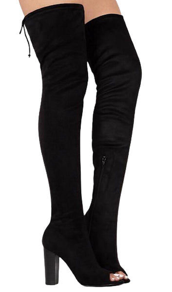 Friends In High Places Black Suede Thigh High Open Toe Boots