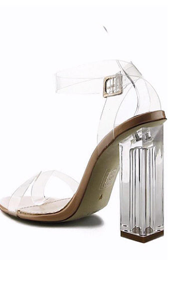 Run Cinderella Clear Gold Ankle Strap Nude Heels