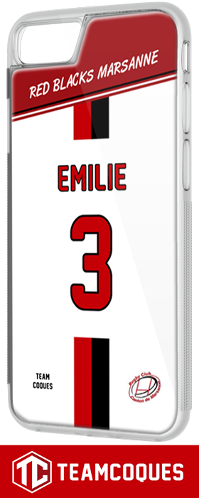 Coque foot rugby RED BLACKS MARSANNE (Amateur) - flocage 100% personnalisable - iPhone smartphone - TEAMCOQUES