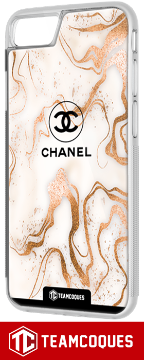 Coque design CHANEL N°5 MARBRE GOLD - iPhone smartphone - TEAMCOQUES