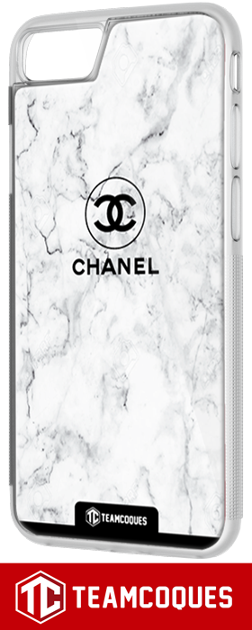 Coque design CHANEL N°5 MARBRE BLANC - iPhone smartphone - TEAMCOQUES
