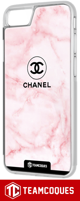 Coque design CHANEL N°5 MARBRE ROSE - iPhone smartphone - TEAMCOQUES