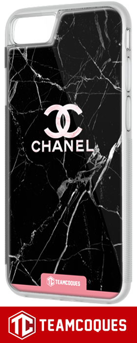 Coque design CHANEL N°5 MARBRE NOIR - iPhone smartphone - TEAMCOQUES