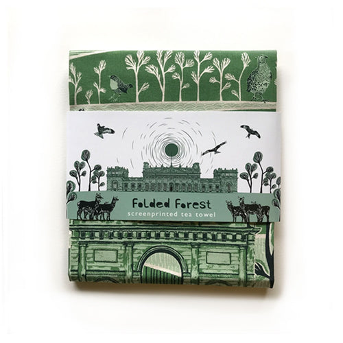 Folded Forest Harewood Print Tea Towel