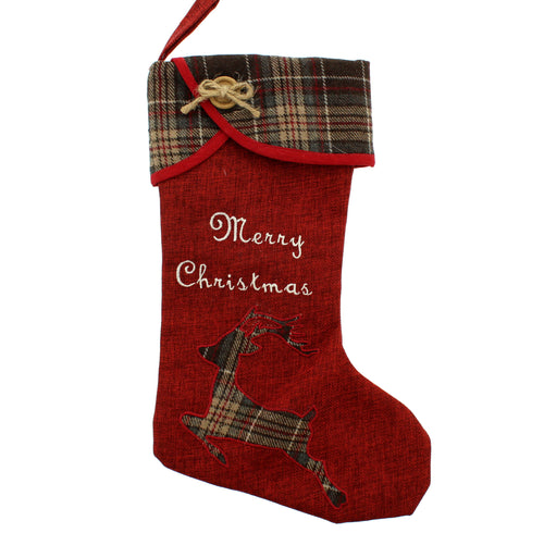 47cm red and tartan stocking with reindeer design