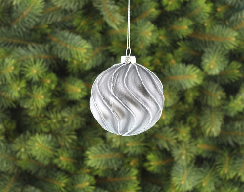 8cm pewter glass ball silver glitter swirl lines