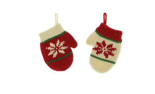 6cm x 9cm knitted mini mitten decoration