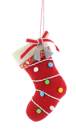 15cm red fabric stocking with pom poms