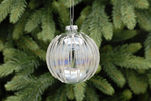 8cm clear iridescent/silver beaded glass ball