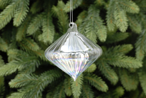 11cm clear iridescent ridged glass onion