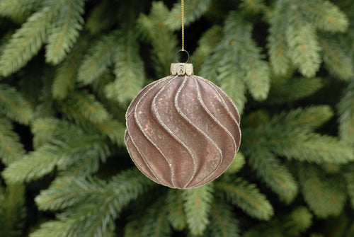 8cm matt copper swirl ridged glass ball
