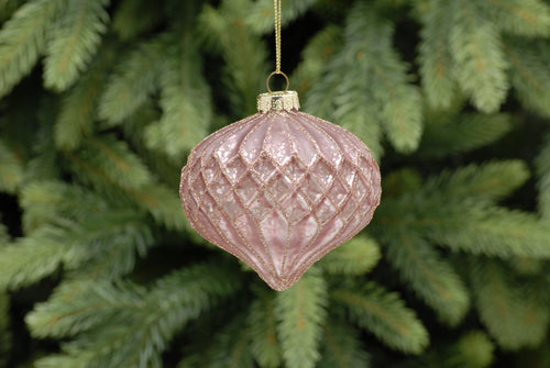 8cm pink glitter geometric glass onion
