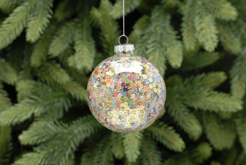 8cm clear with multicolour sequin glass ball