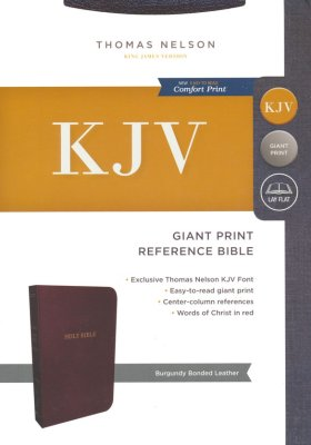 KJV Reference Bible, Giant Print, Burgundy Bonded Leather