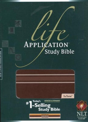 NLT Life Application Study Bible 2nd Edition, TuTone Dark Brown with Stripes Imitation Leather