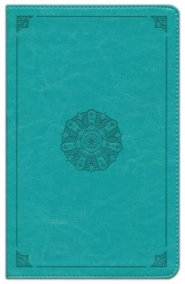 ESV Large Print Thinline Bible (TruTone, Turquoise, Emblem Design)