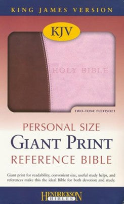 KJV Giant Print Personal Size Reference Bible--imitation leather, pink/chocolate