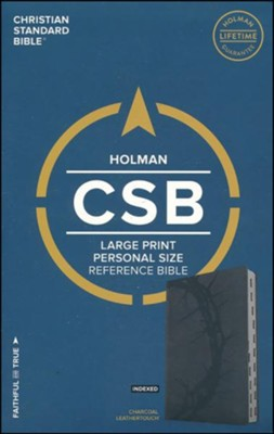 CSB Large Print Personal Size Reference Bible, Charcoal LeatherTouch, Thumb-Indexed