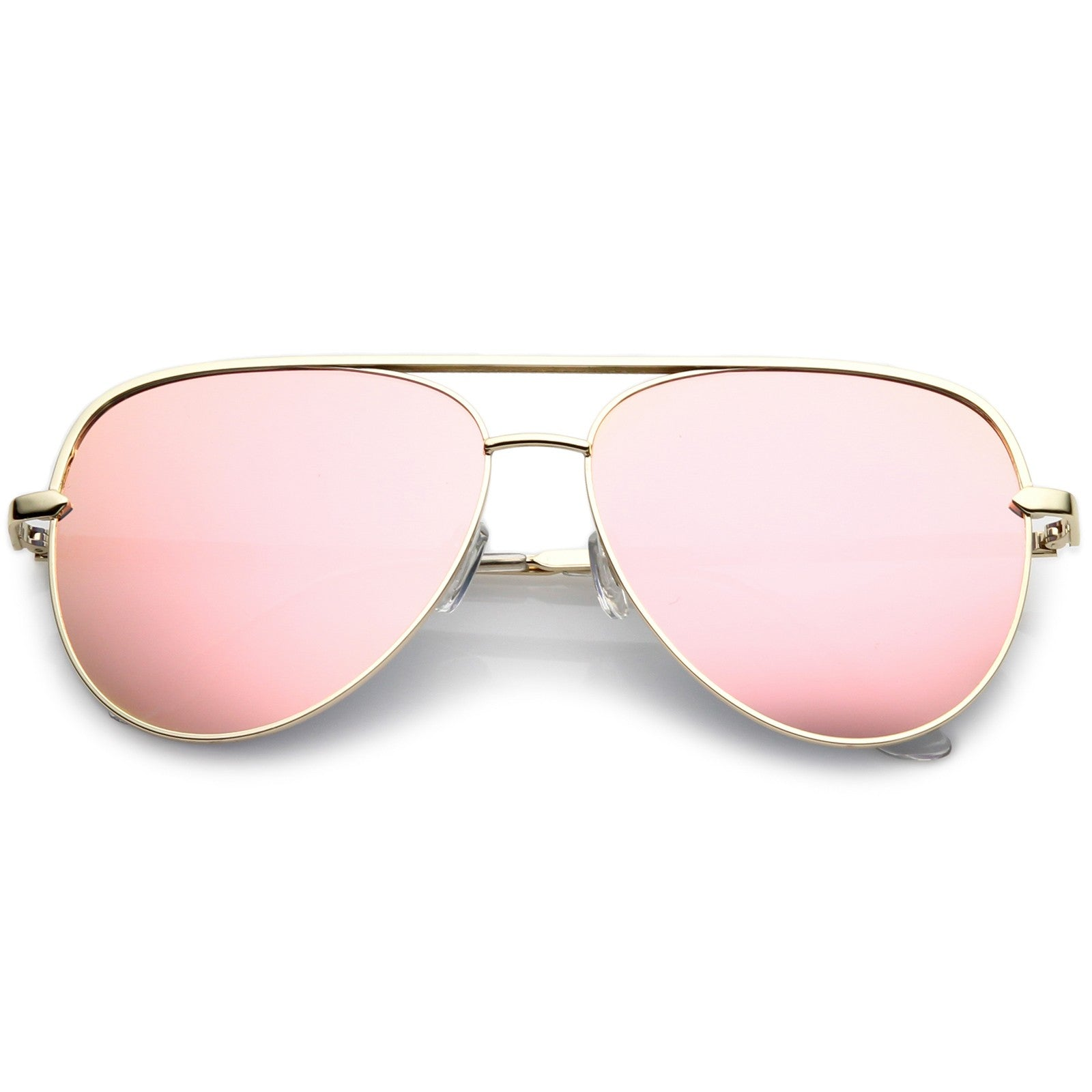 5748eb81d466 Premium Oversize Metal Aviator Sunglasses With Colored Mirror Lens And  Crossbar 60mm - Glo Suite