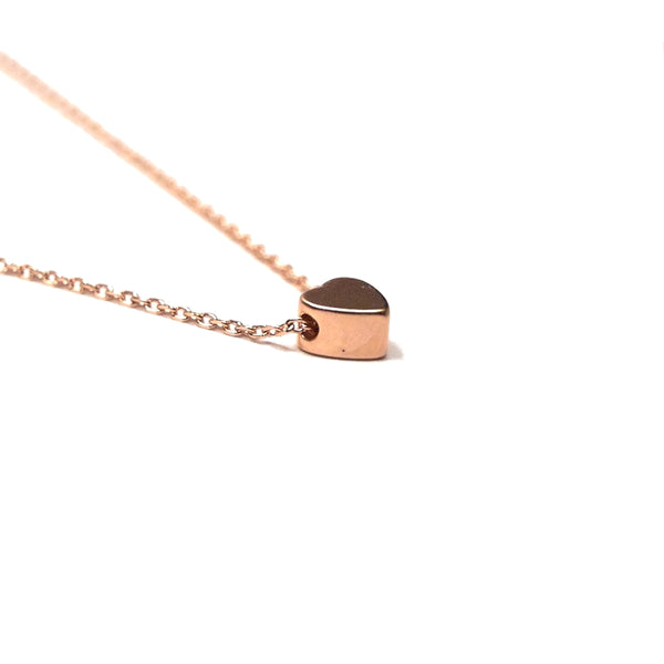 tiny rose gold heart necklace