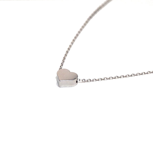 tiny silver heart necklace