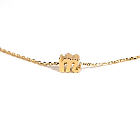 gold lowercase initial necklace