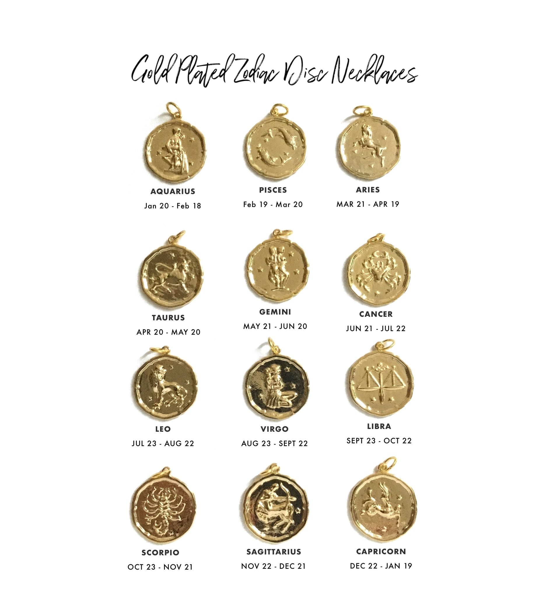 Gold plated zodiac disc necklace