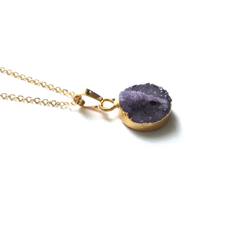 Gold amethyst druzy necklace