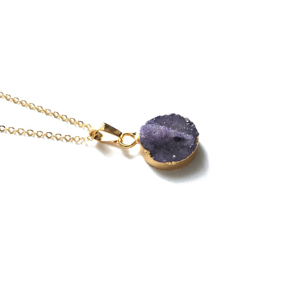 Gold electroplated amethyst gemstone necklace