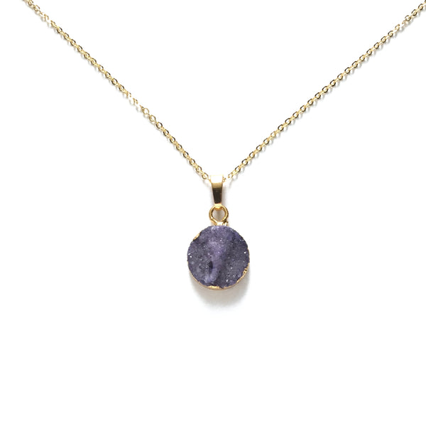 Gold plated amethyst stone necklace