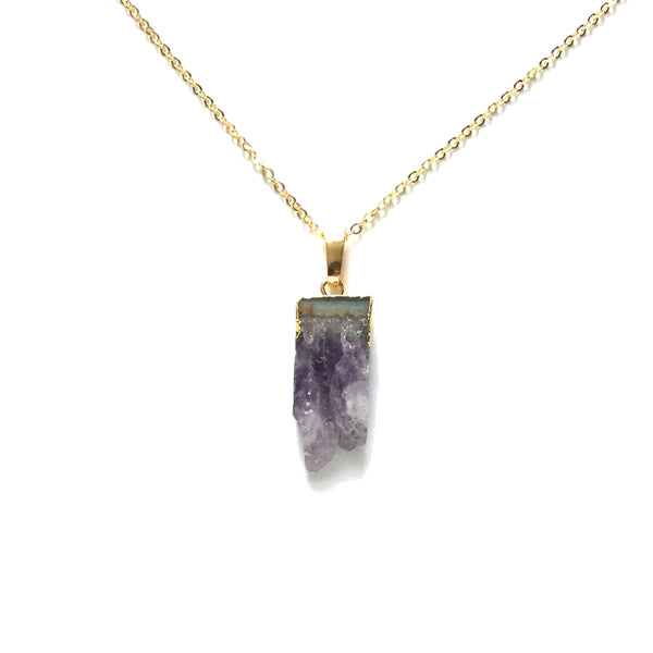 Tiny Gold electroplated raw natural sliced geode amethyst gold plated chain necklace