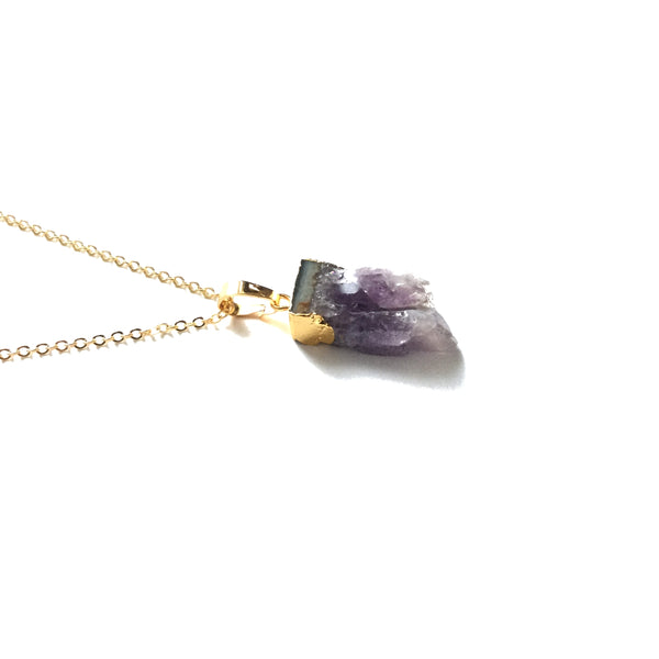 Natural Amethyst Slice Geode Necklace