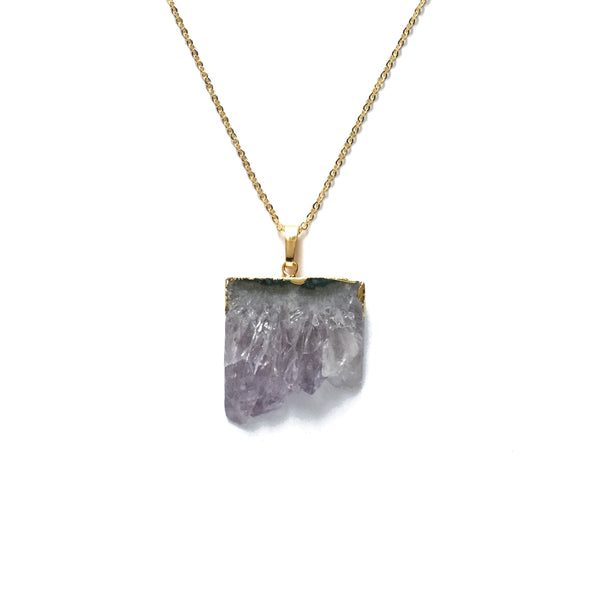 Gold electroplated raw natural sliced geometric amethyst pendant necklace