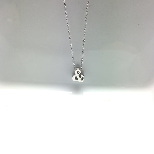 silver plated ampersand necklace