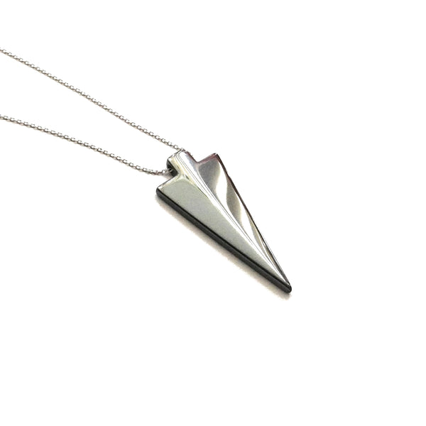 Hematite arrowhead pendant necklace on a silver rhodium plated chain