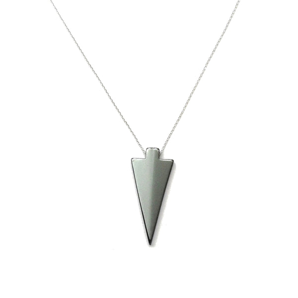 Gray Hematite arrowhead pendant necklace on a silver rhodium plated chain