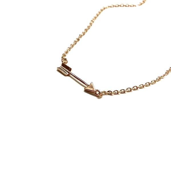 Tiny Rose Gold Arrow Necklace