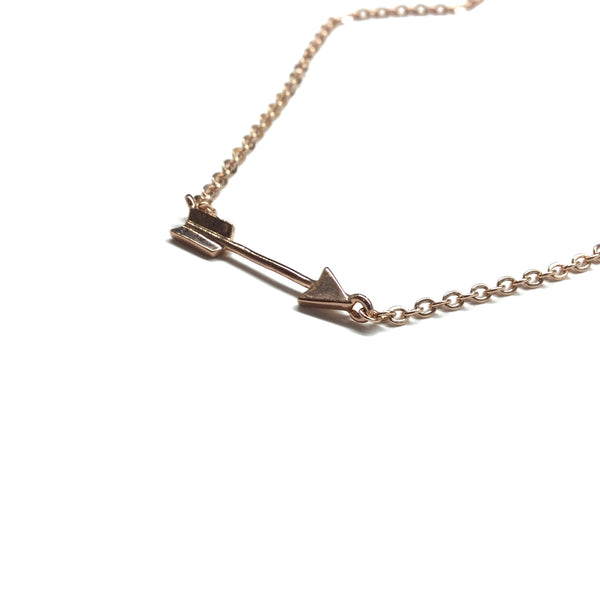 Tiny rose gold plated arrow necklace