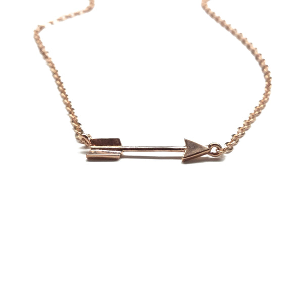 Rose gold plated arrow necklace