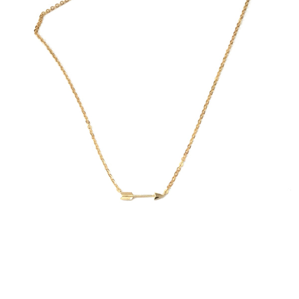 Gold plated tiny arrow necklace